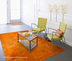 Fabulously bright Loire Arancione Rug (handmade in Spain, 100% leather) http://www.therugswarehouse.co.uk/leather-rugs/loire-arancione-rug.html