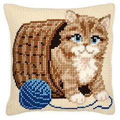 Vervaco Kitten and Wool Cross Stitch Cushion, Multi-Colour, Fabric, One Cat Cross Stitches, Cross Stitch Bird, Beaded Cross Stitch, Cross Stitch Animals, Cross Stitch Charts, Cross Stitch Designs, Cross Stitch Embroidery, Cross Stitch Patterns, Needlepoint Pillows