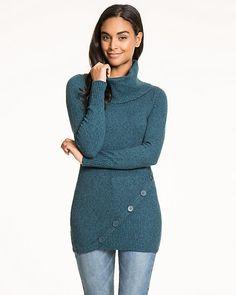 Cotton Blend Cowl Neck Sweater