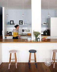 Marine, Paris 11ème - Inside Closet Painting Wallpaper, Kitchen Paint, Decoration, Home Kitchens, Sweet Home, New Homes, Table, House, Furniture