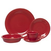 5 piece place setting scarlet (830)  5-piece place setting includes:  One 7 3/4 Ounce Cup  One 5 7/8 Inch Saucer  One 7 1/4 Inch Salad Plate  One 10 1/2 Inch Dinner Plate  One 19 Ounce Bowl    Dishwasher, oven, and microwave safe  Fully vitrified lead-free china with a color glaze  Made in the USA.