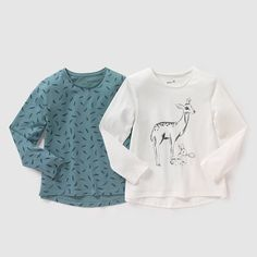 Image Pack of 2 Long-Sleeved Printed T-Shirts, 3-12 Years R édition