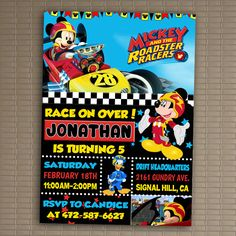 Mickey And The Roadster Racers Invitation, You Print Invitation, Mickey And The Roadster Racers Birthday Party Invite, Mickey Mouse Party by LittlePickleShoppie on Etsy https://www.etsy.com/listing/489067350/mickey-and-the-roadster-racers