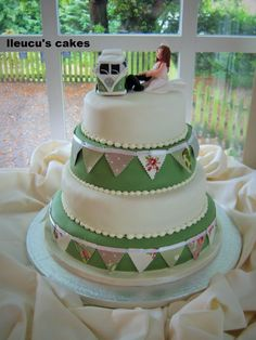 4 Tier Wedding Cake With Bunting And An Edible Camper Van Bride