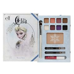 The all-in-one beauty book includes 8 eyeshadow colors, 1 face highlighting powder, 1 shimmer pencil, 1 eyeliner pencil, 1 lip color, and 1 eyeshadow brush.