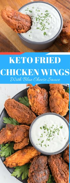 Keto Crispy Fried Chicken with Buffalo Dipping Sauce via @fatforweightlos