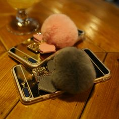 Super Fashion Phone Cases for iPhone 7 Plus Case Woman Elegant Mirror Coque Winter Fur Phone Cover for Apple iPhone 7 Plus Case