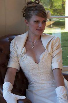 Satin Bridal Jacket for Kara in White