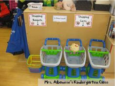 Love this Grocery Story Dramatic Play center in kindergarten- can buy the printable pack too!
