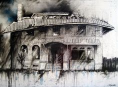 """Charcoal Drawing, Detroit - 8""""x10"""" Fine Art Print - """"7722 LaSalle Gardens"""" - Abandonings, Detroit, Charcoal, Mixed Media. A fine art print from an original 18""""x24"""" mixed media charcoal drawing on panel titled """"7722 LaSalle Gardens"""". This drawing is from a small series titled """"Witness"""", depicting Detroit's abandoned houses. I hope to provoke thoughts of abandoned houses as witnesses to life, surviving as empty shells wrapped around the passage of time. These pieces reflect and support the..."""
