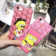 新入荷カップルThe Simpsons ゴヤールコラボ iphone8 ペアケース ラブラブ 熱い販売中!スクラブ生地のGOYARD キャラクターシンプソンズ iphone7/6s/6カバー 高質 ピンク カワイイ 韓国サイト