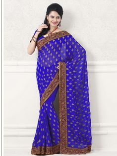 Get a charming beauty with this rich blue sari by kalazone. The saree is made of viscos material and has patti work all over the it. The gorgeous mehroon border with golden work gives it a rich look and makes it fabulous. (Slight variation in color is possible)