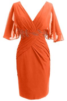 Sunvary Woman Sheath V Neck Mother of the Bride Dresses Short Sleeves Prom Cocktail Gowns Bridesmaid Dress Chiffon US Size 16- Orange