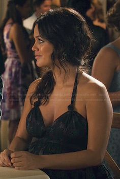 Zoe's black printed halter neck dress on Hart Of Dixie.  Outfit Details: https://wornontv.net/46502/ #HartofDixie