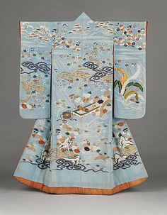 Furisode with Imagery Alluding to the Noh Play Kikujido, Edo era, The Los Angeles County Museum of Art