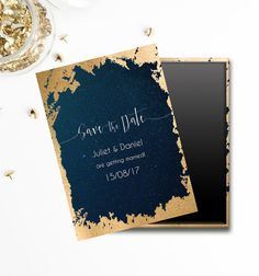 Dark Blue and Gold Written in the Stars Save the Date wedding magnet. Perfect for a couple getting married under the night sky. www.etsy.com/shop/weddingraphicsuk