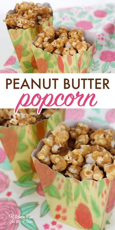 PEANUT BUTTER POPCORN - So Easy - Only - Incredibly Delicious Peanut Butter Popcorn is a delicious and easy treat to make for movie night! If you're a peanut butter lover you will enjoy this dessert. Peanut Butter Muddy Buddies, Peanut Butter Popcorn, Peanut Butter Recipes, Popcorn Recipes, Candy Recipes, Snack Recipes, Cooking Popcorn, Popcorn Snacks, Gourmet Popcorn