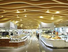 The food hall food court design, open ceiling, dropped ceiling, restaurante Open Ceiling, Dropped Ceiling, Display Design, Store Design, Mall Design, Sign Design, Food Court Design, Store Interiors, Shop Front Design
