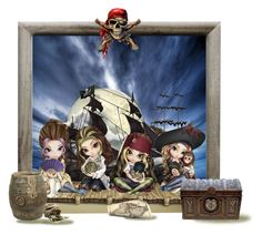 """""""Lady Pirates"""" by sue-wilson1967 ❤ liked on Polyvore featuring art"""