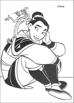 Mulan coloring pages - Fa Mulan and Mushu the guardian of the Fa family