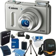 Canon PowerShot S100 Silver Digital Camera 16GB Bundle by Canon. $349.00. The PowerShot S100 is a sophisticated pocket-friendly point-and-shoot digital camera that has the power advanced users and enthusiasts need to create standout images. As with other PowerShot cameras, the compact PowerShot S100 incorporates all of the advanced Canon technologies that make capturing superb photos and video as easy as pressing a button. Yet, when it's time to get creative, the very sam...
