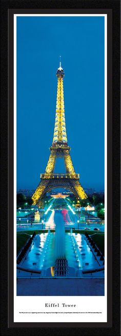 Eiffel Tower Panoramic Picture Framed (Twilight)