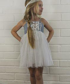 Look what I found on #zulily! White Denim Lace Babydoll Dress - Toddler & Girls by Pretty Cute #zulilyfinds
