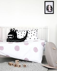 Everything's coming up ... dots and spots! Three-eyed Monster is pretty happy about tonight's duvet cover. It's called Pink Bliss! . . . Wishing you all a blissful night's sleep if that's where you're headed. And if you've got more than just a few more hours to go before bedtime, then bliss out on the rest of your day! . . www.ooh-noo.com