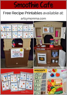 Kids can use these free printable smoothie recipes for a pretend play smoothie cafe or a dramatic play idea in their preschool class. Dramatic Play Themes, Dramatic Play Area, Dramatic Play Centers, Play Based Learning, Learning Centers, Early Learning, Kids Learning, Preschool Activities, Preschool Class