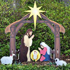 Holy Night Printed Outdoor Nativity Set