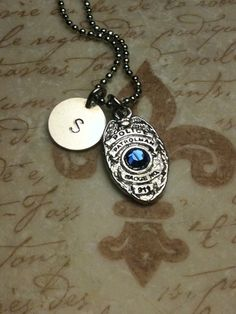 My dad my hero police officer pendant family pinterest dads police badge initial necklace i am thinking of getting this for my son when he graduates the police academy april aloadofball Choice Image