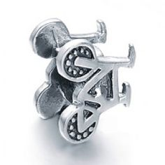 Silver Bicycle Bead Charm