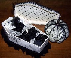 """I altered this paper mache' coffin box (8.25"""" x 5.5"""") and filled it with gothic goodies for a 1/1 swap at Marie Antoinette Mail Art. This gift is for Debi ..."""