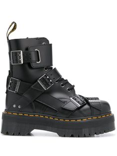 Black leather Jadon strap 40mm boots from DR. MARTENS featuring contrast stitching, lace-up detailing, round toe, side zip fastening, side buckle fastening, pull-tab at the heel, low ridged heel and ridged rubber sole. Dr. Martens, Dr Martens Jadon, Dr Martens Boots, Lace Up Combat Boots, Leather Boots, Heeled Boots, Black Leather, Shoes Too Big, Crazy Shoes