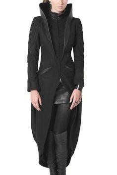 Mode Cyberpunk, Cyberpunk Fashion, Dystopian Fashion, Future Clothes, Future Fashion, Long Jackets, Dark Fashion, High Collar, Dresses For Work