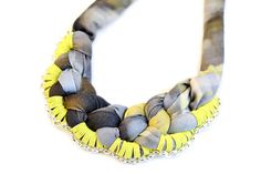 Statement Necklace Fabric Grey Photoprint Pattern by gudbling