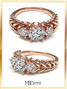Three Stone Double Helix Diamond Engagement Ring In Rose Gold - ES486RG