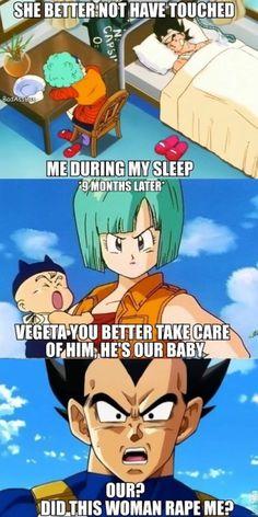 thetaintedheartofvegeta:  Haha pissed myself  #lol #vegeta #bulma #trunks
