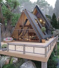 Cabin Design, Small House Design, Modern House Design, Loft Design, Design Design, A Frame House Plans, Shed House Plans, Shed Homes, Cabin Homes