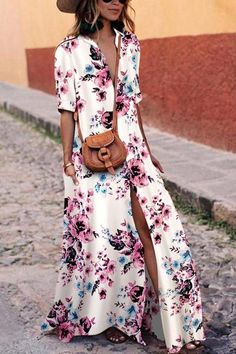 Sexy White Floral Print Short Sleeves Maxi Dress dresses for vacation vacation outfit ideas vacation dresses mexico travel dress outfit beach vacation dresses travel dress vacation fashion summer vacation dresses Maxi Shirt Dress, Maxi Dress With Sleeves, Short Beach Dresses, Summer Dresses, Summer Outfits, Backless Maxi Dresses, Dresses Dresses, Floral Dresses, Long Dresses