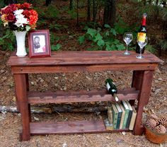 Wine Rack Table/ Sofa Table/ Console Table/ Entry/reclaim Wood