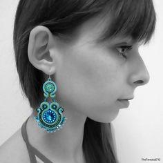 Peacock Eyes - soutache earrings