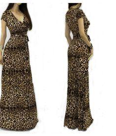 Women Sexy V-neck Short Sleeve Maxi Leopard Dress