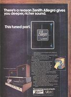 Zenith Allegro Speakers 1974 Ad Picture