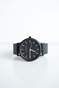 The Horse Leather Watch - Black Face, Black Leather A simple take on the classic time-teller. Featuring a sandblasted matte black coated stainless steel case...