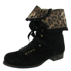 Click on the image for more details! - BETSEY JOHNSON Tyler Leopard Fold Over Womens Combat Boots (Apparel)