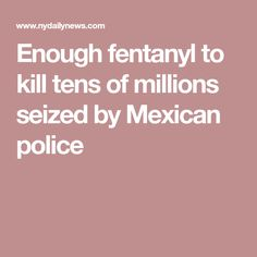 Enough fentanyl to kill tens of millions seized by Mexican police