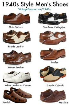 New 1940s style men's shoes. Shop now. at VintageDancer.com/1940s #MensFashionShoes