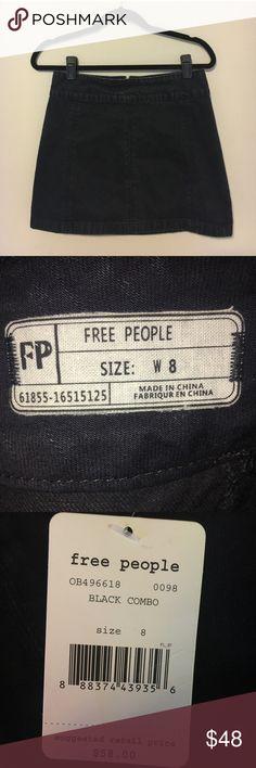 Free People Black Denim Skirt Free People black denim A-line mini skirt NWT Free People Skirts Mini