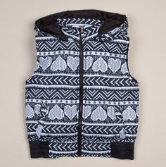Heart Print Hooded Puffer Vest